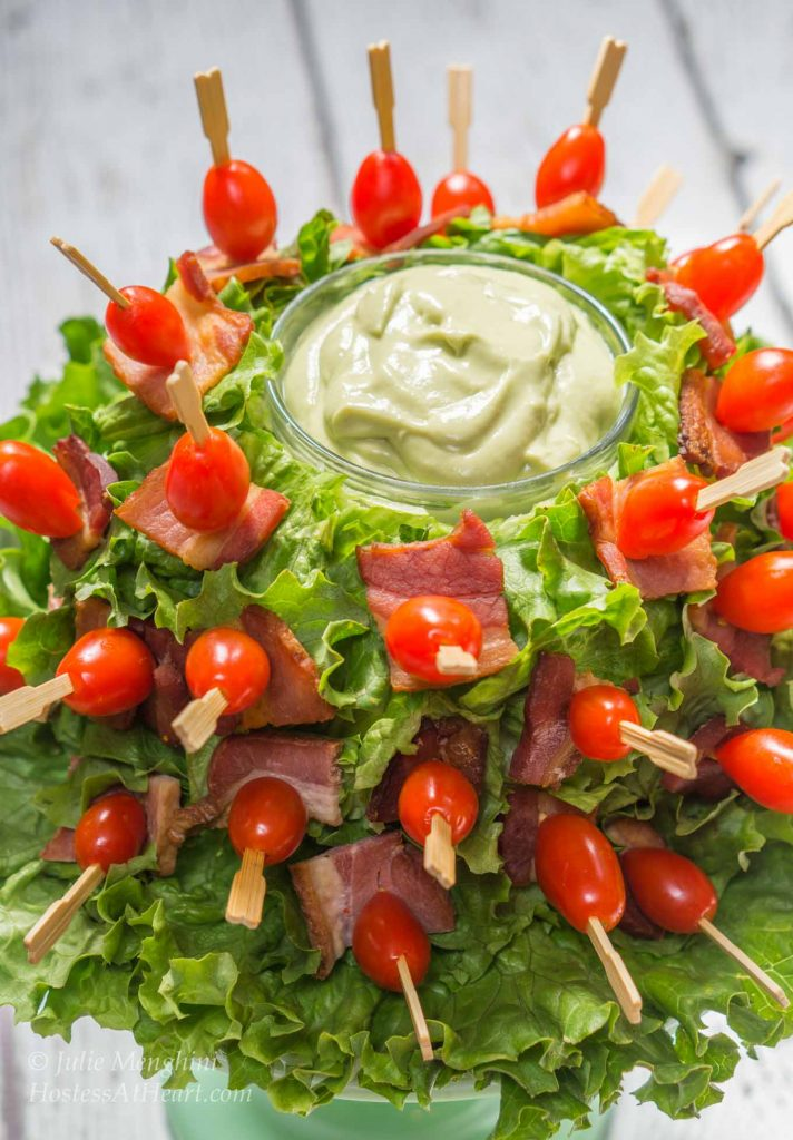 Bacon Lettuce Tomato Skewers with Avocado Sauce is like enjoying a BLTA at your finger tips | HostessAtHeart.com