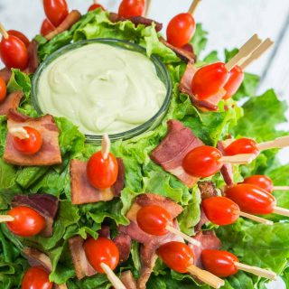 Bacon Lettuce Tomato Skewers with Avocado Sauce is like enjoying a BLTA at your finger tips   HostessAtHeart.com