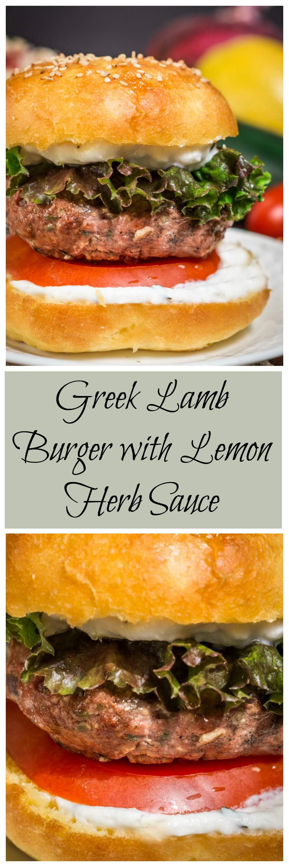 Greek Lamb Burger with Lemon Herb Sauce is one of the best burgers thatI've ever made or eaten. You'll not want to put it down! #lamb_burger #grilling #burger #lamb #HealthyEating | Healthy Dinner | Clean Eating