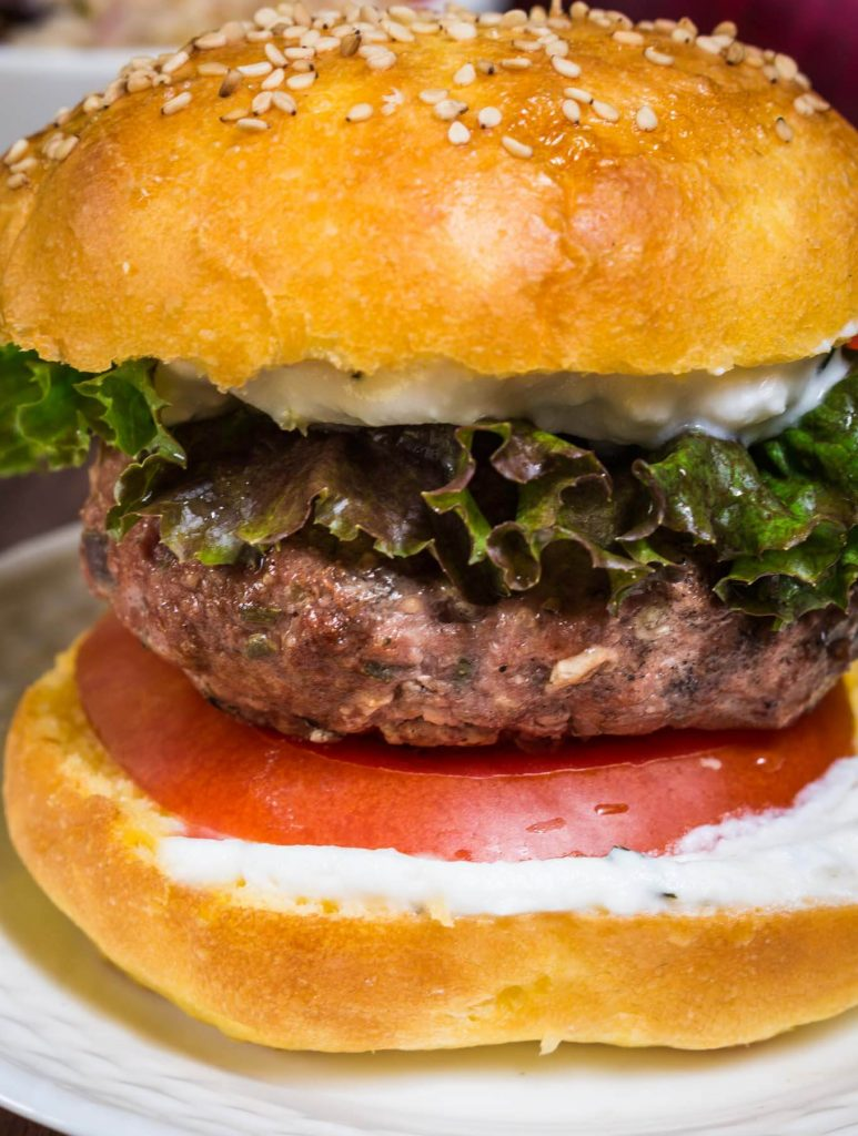 Greek Lamb Burger with Lemon Herb Sauce
