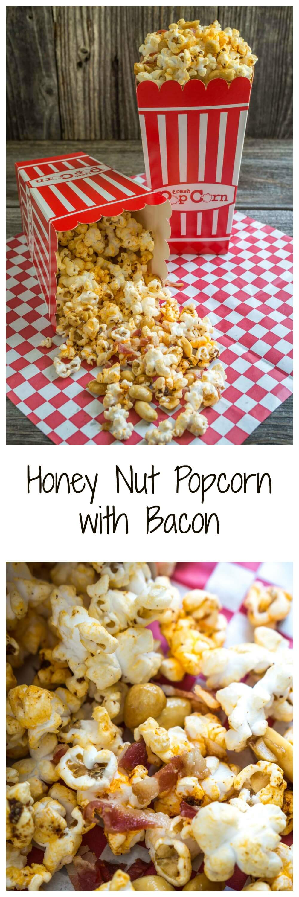 Honey Nut Popcorn with Bacon is the perfect mix of sweet, salty, smokey and crunchy.  It's quick to put together and delicious to eat.  Make plenty because it has a way of disappearing!