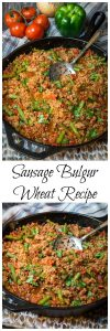 Bulgur Wheat has a mild warm nutty flavor. It can be cooked right into your recipe in 20 minutes which makes it perfect for this One-pan Sausage Bulgur Wheat Recipe | HostessAtHeart.com