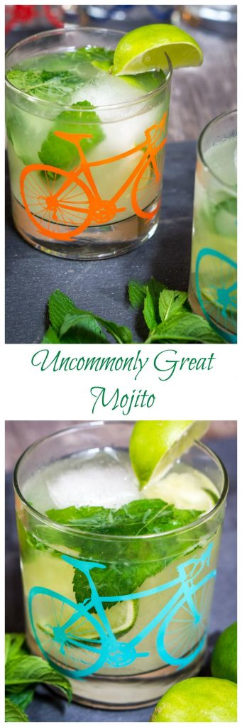 "Two photos for Pinterest. The top photo is of a glass decorated bicycle on the front filled with a Mojito garnished with fresh mint and a slice of lime. Fresh mint and a second partial glass is in the front. A single top-angled glass appears in the bottom photo. The title ""Uncommonly Great Mojito\"" runs through the center."