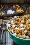 Trail mix made up of pretzels, marshmallows, seeds and little bunny cookies