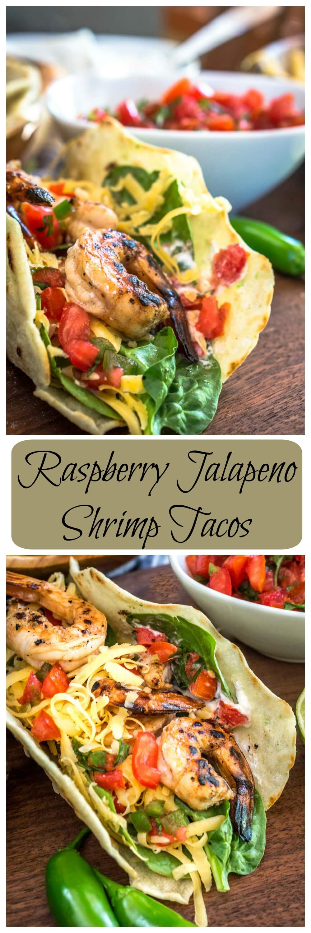 These Raspberry Jalapeno Shrimp Tacos are quick, easy, and absolutely delicious.  There's a hint of sweet followed by a little heat.  Best of all,  they're easy on the waistline. HostessAtHeart.com