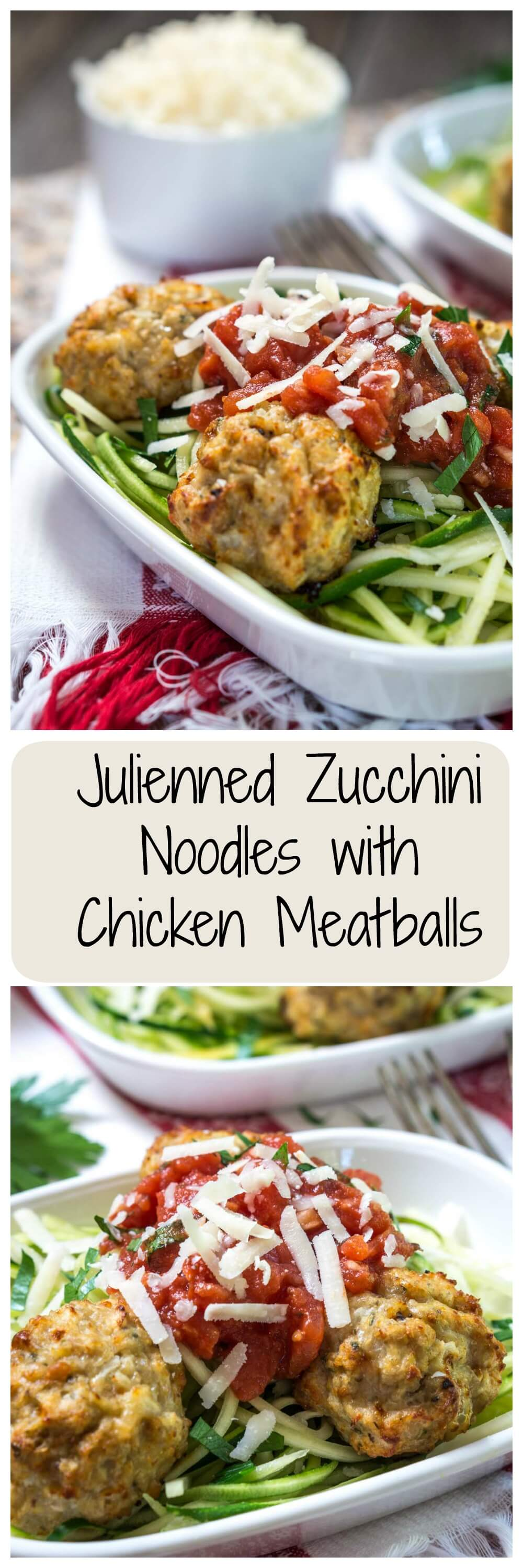 Julienned Zucchini Noodles with Chicken meatballs is a healthier lite dish that can be made in under 30 minutes. It has an Italian flair that pasta lovers will adore. | HostessAtHeart.com