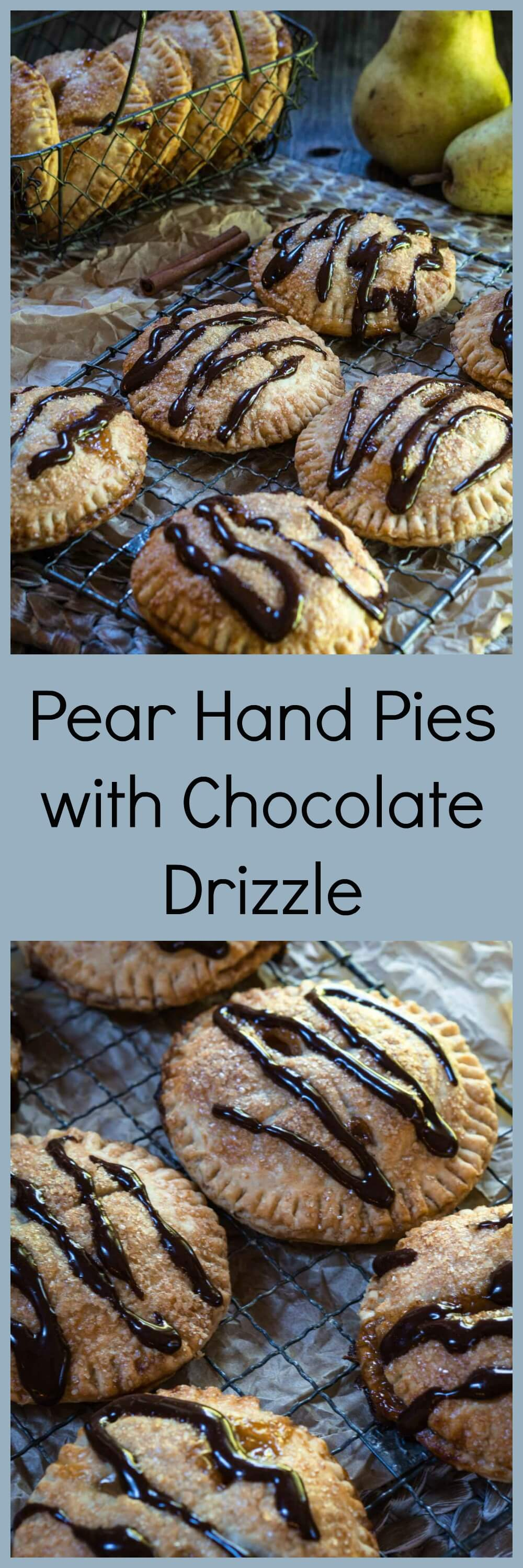 Pear Hand Pies with Dark Chocolate Drizzle are packed with pears that have been baked in a sauce of brown sugar and cinnamon between a flaky buttery crust. The drizzle of dark chocolate gives this pie a deeper richness. | HostessAtHeart.com