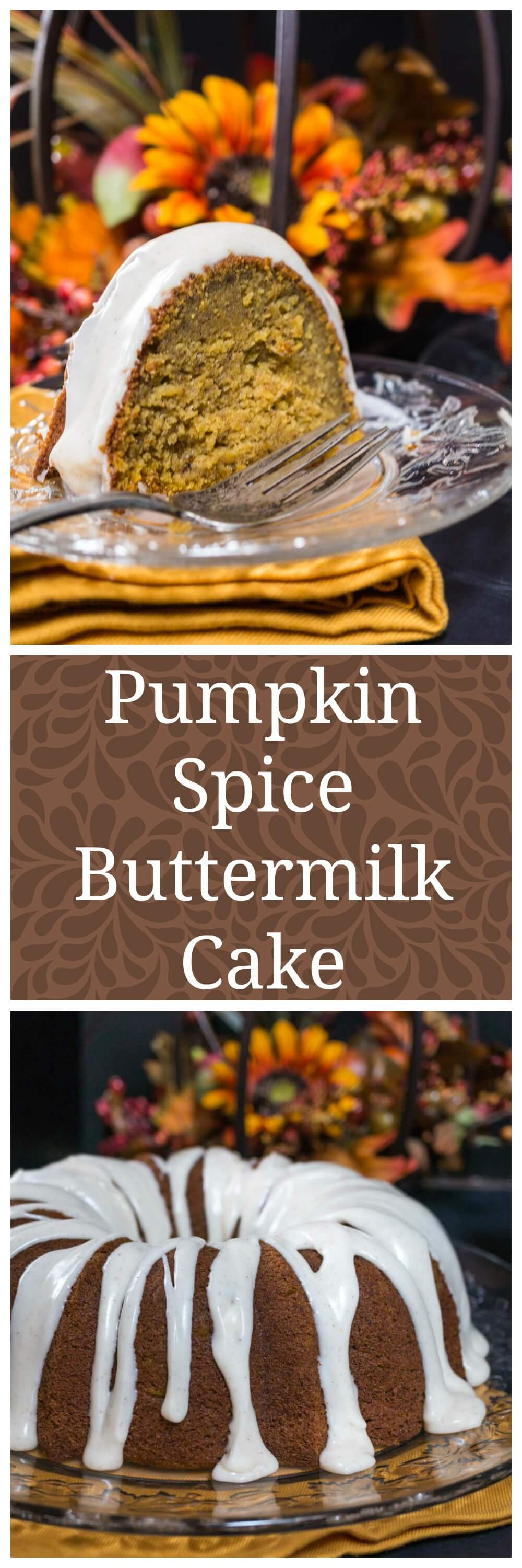 Pumpkin Spice Buttermilk Cake with a warm Cinnamon Cream Cheese icing is perfect for Fall entertaining, Holidays or any occasion | Hostess At Heart.com