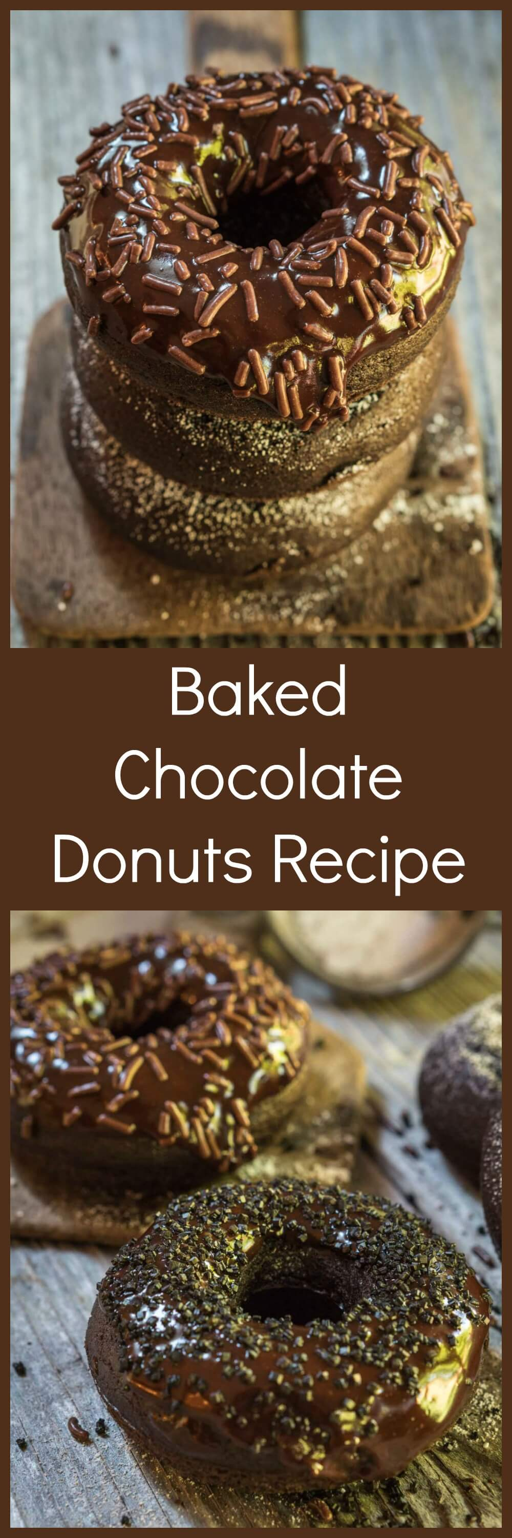 Dark Chocolate Baked Donuts are chocolatey, tender and fluffy. They're great for breakfast and baking doesn't sacrifice taste. | HostessAtHeart.com