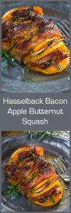 Hasselback Bacon Apple Butternut Squash tastes like it's loaded with brown sugar and butter but it's all natural sweetness. | HostessAtHeart.com