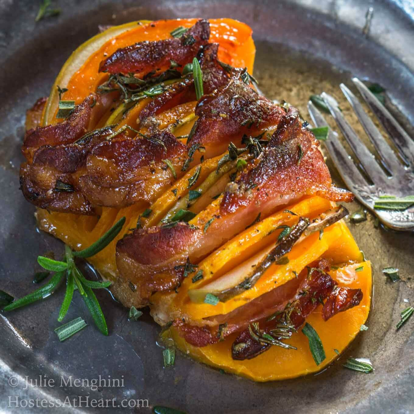Hasselback Bacon Apple Butternut Squash tastes like it's loaded with brown sugar and butter but it's all natural sweetness.   HostessAtHeart.com