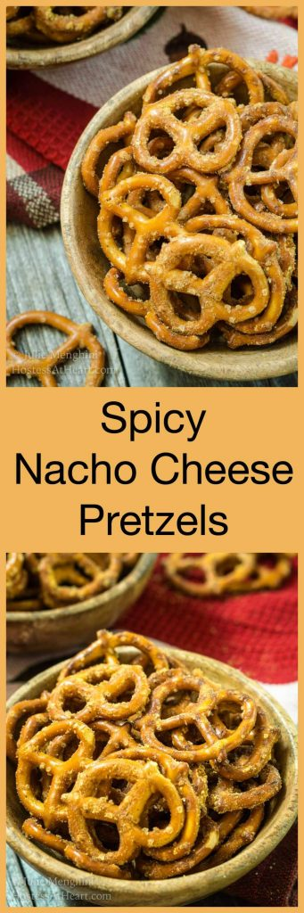 Pin collage of Nacho Cheese flavored Pretzels