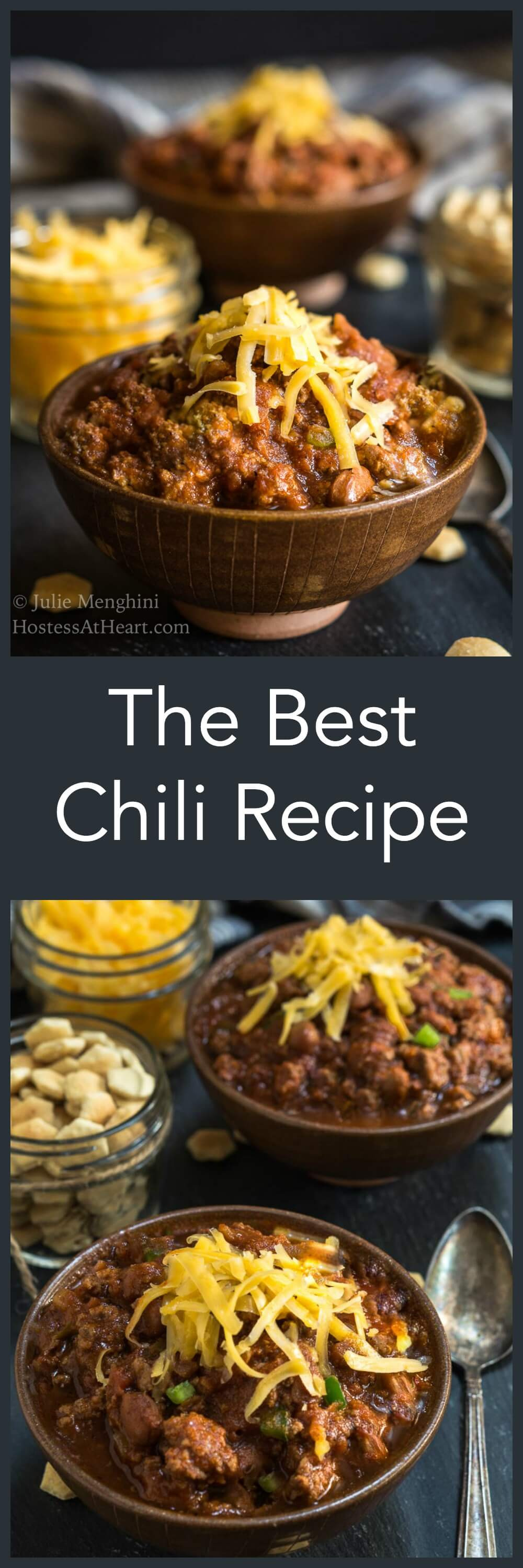 The Best Chili Recipe will change the way you make chili from now on. It has a secret ingredient that takes this dish to the next level. It's easy to make and makes enough for a crowd   HostessAtHeart.com