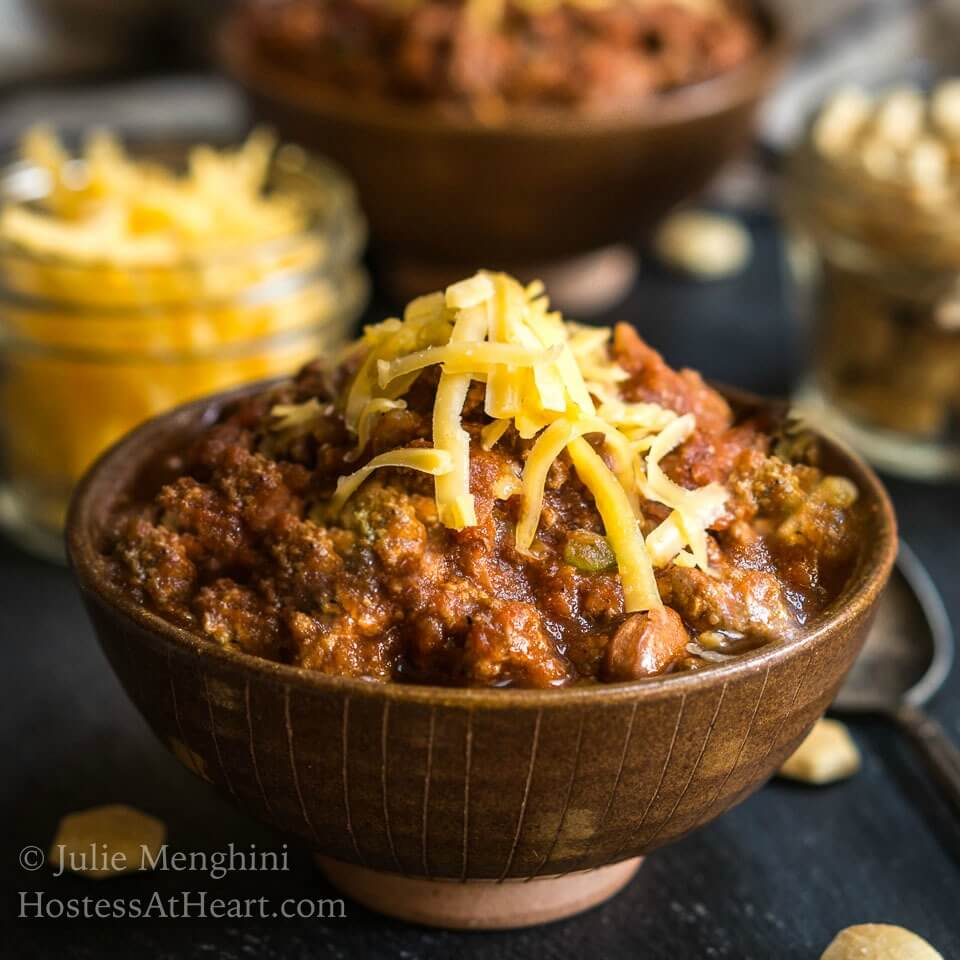 The Best Chili Recipe will change the way you make chili from now on. It has a secret ingredient that takes this dish to the next level. It's easy to make and makes enough for a crowd | HostessAtHeart.com