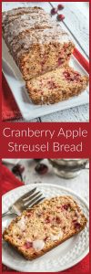 2 photos showing a loaf of cranberry apple streusel bread and a photo of the slice on a white plate.