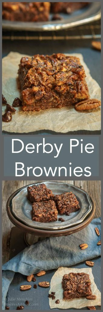 Derby Pie Brownie recipe is the best combination of a dark chocolate brownie and a pecan pie. It's rich, delicious, and perfect for any occasion.   HostessAtHeart.com
