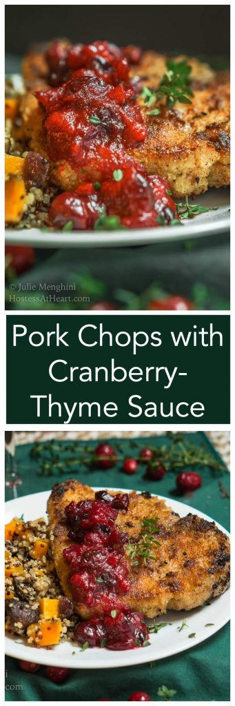 Pork Chops with Cranberry-Thyme Sauce look and taste like it's only for a special occasion but it's quick enough to put on your table any day of the week. | HostessAtHeart.com