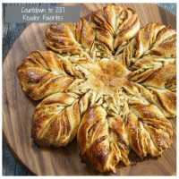Top-down photo of a star-shaped apple bread sitting on a wooden cutting board. The title Countdown to 2017 Reader Favorites is in the upper left corner.