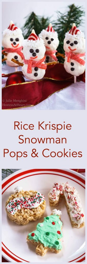 Rice Krispie Snowman Pops pinterest collage