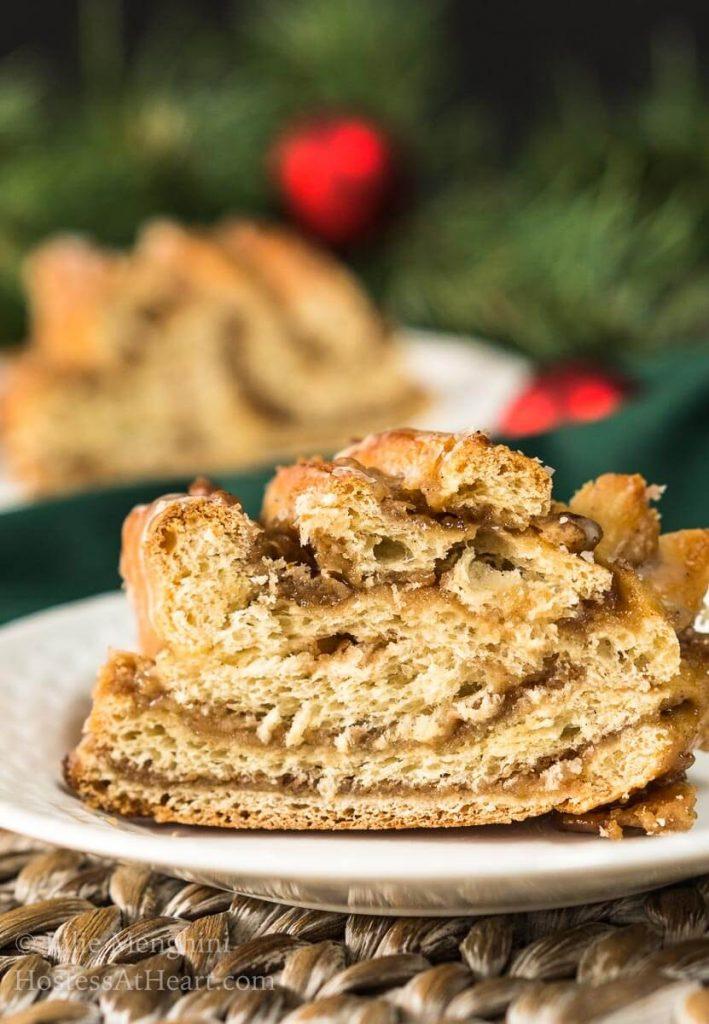 Sweet Nut Holiday Bread Wreath slice