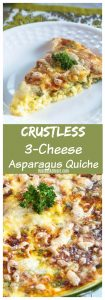 Pinterest collage of crustless cheese asparagus quiche