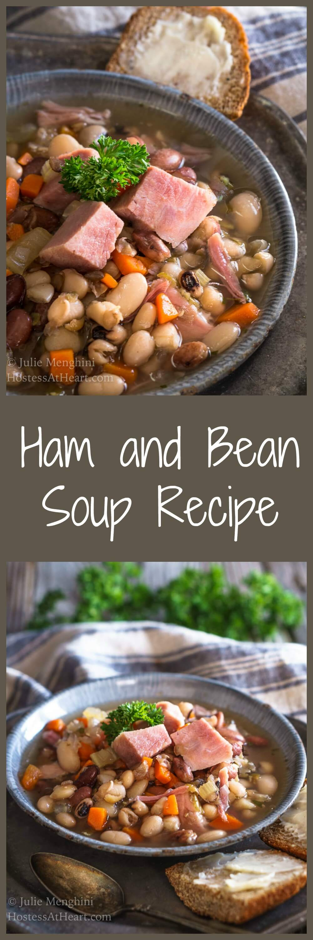 This Ham and Bean Soup Recipe is perfect for lunch or dinner. It's a hearty protein-packed soup that will keep you satisfied long after a meal. This recipe will feed a crowd or freezes well. #souprecipe #comfortfood #homemade | Homemade Soup | Easy Soup Recipe
