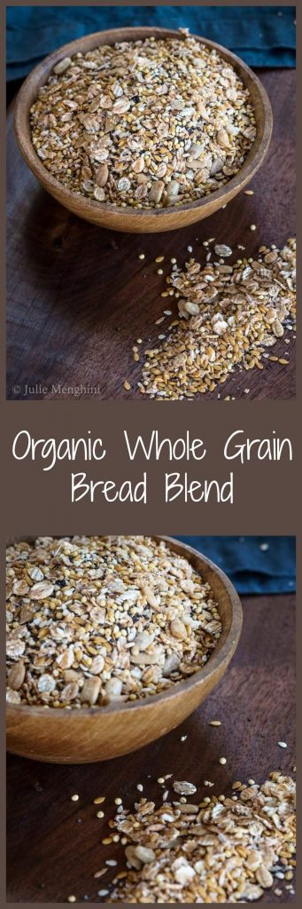 "A two-photo collage for Pinterest of a wooden bowl filled with an Organic Whole Grain Bread Blend with some of the mix scattered on a wooden cutting board. The title ""Organic Whole Grain Bread Blend\"" runs through the center of the photos."
