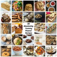A collage of photos for recipes all containing peanuts.