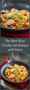 Whether you're celebrating Mardi Gras with one, two or a few, this is The Best Slow Cooker Jambalaya with Farro recipe. | HostessAtHeart.com
