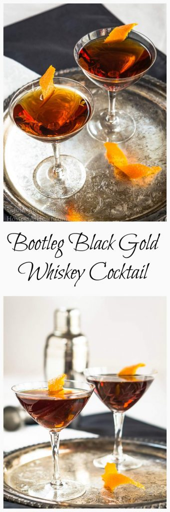 Bootleg Black Gold Whiskey cocktail is smooth, slightly sweet with a touch of orange. It's a great after dinner or an anytime sipper.   HostessAtHeart.com