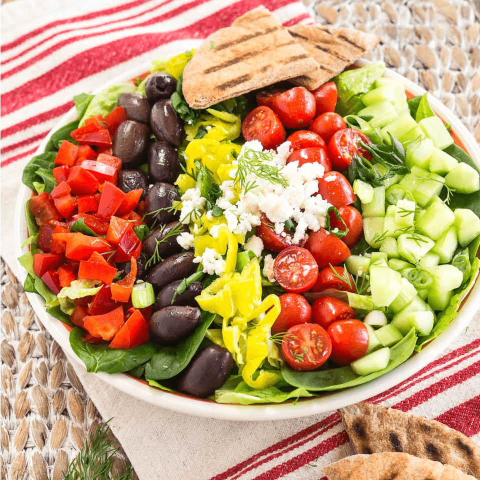Greek Salad with Lemon Vinaigrette