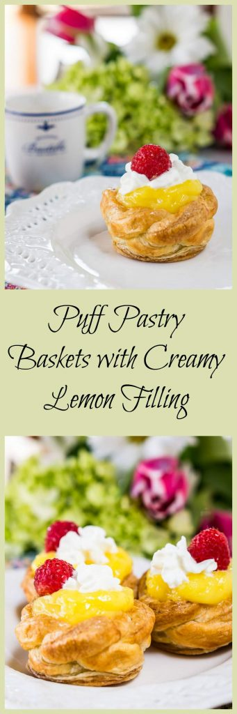 #ad #SpringReddi @Walmart Puff Pastry Baskets with Creamy Lemon Filling are the perfect way to welcome in Spring. They are perfect for a sunny brunch or Easter dinner. | HostessAtHeart.com