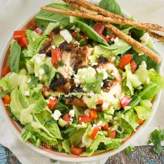Mexican Grilled Chicken Chopped Salad with Honey-Jalapeno Dressing is a party of flavors and textures!