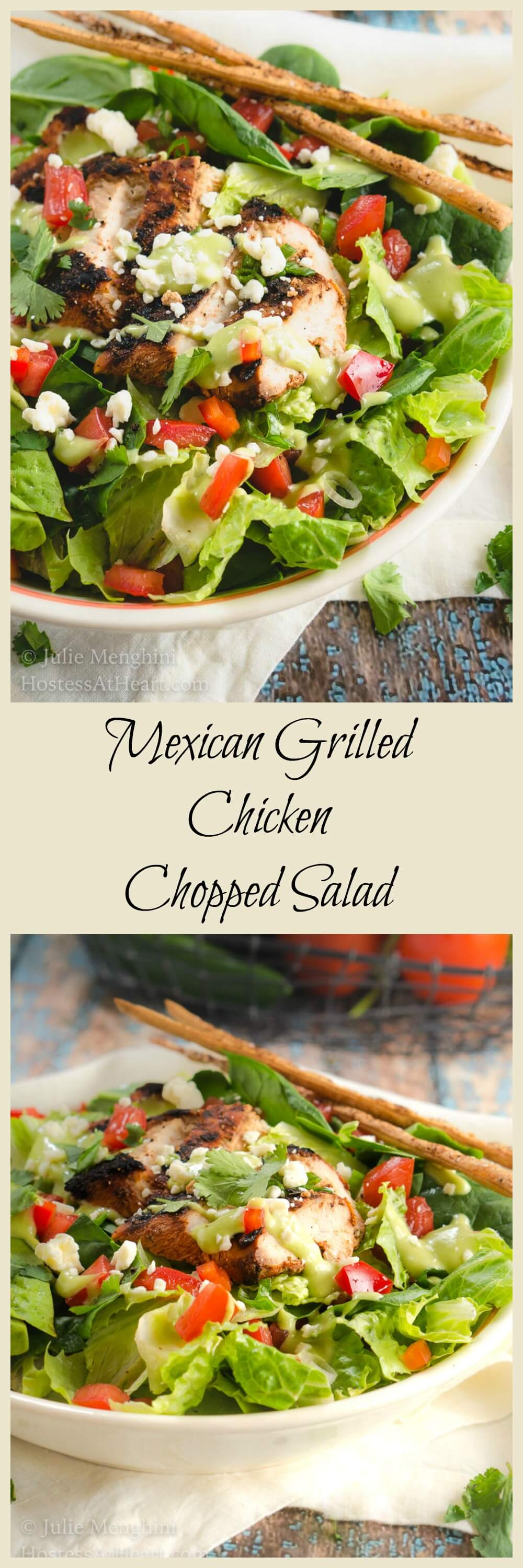 Mexican Grilled Chicken Chopped Salad with Honey-Jalapeno Dressing is a party of flavors and textures   HostessAtHeart.com