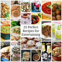 Compilation of several pictures for recipes suitable for entertaining.