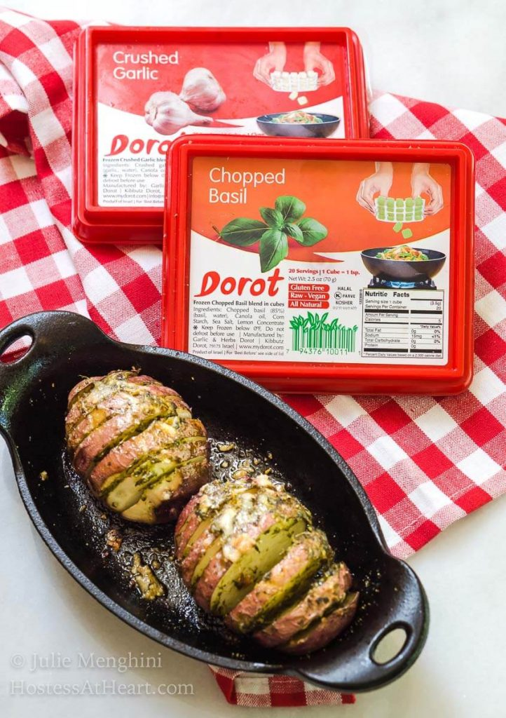 Keep summer grilling and entertaining simple with Garlic-Basil Red Hasselback Potatoes and Dorot. Just sit back and enjoy your guests. | HostessAtHeart.com