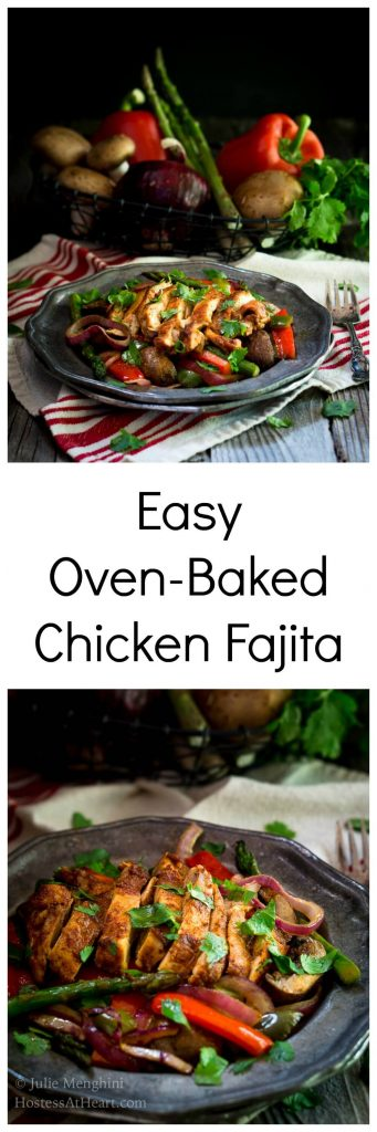 Easy Oven-Baked Chicken Fajita recipe is an explosion of deliciousness. It's perfect with a side of rice, in a wrap, and the chickenis the perfect topper for yoursalad.| HostessAtHeart.com