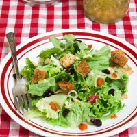 A white plate with a red rim filled with a salad that's dotted with green onion, craisins, croutons, and nuts. A jar of vinaigrette over a red-checked tablecloth sits in the background.