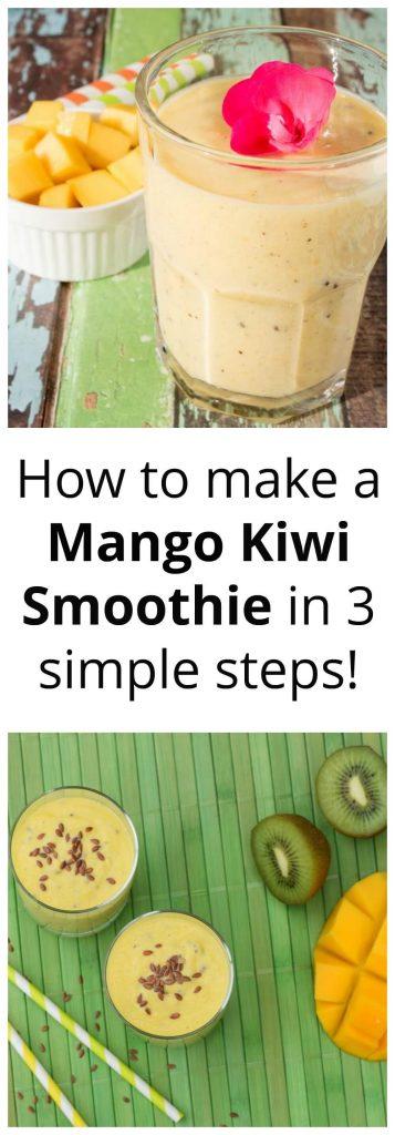 Collage of fresh mango & kiwi next to a smoothie on a green background