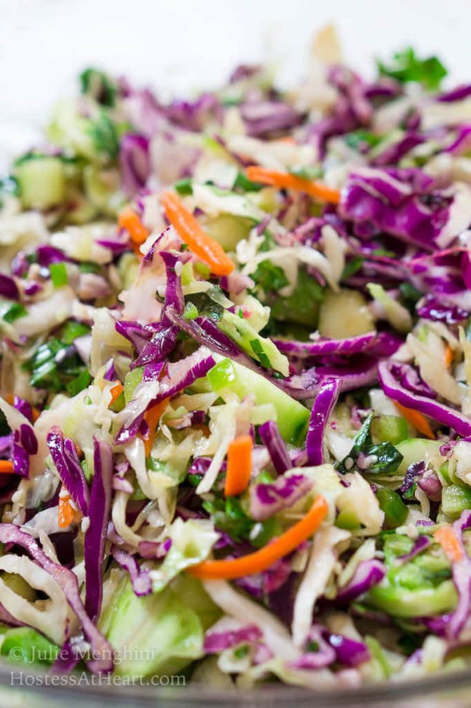 Thai Basil Cabbage Slaw with Jalapeno recipe is full of flavors and texture.  It's herby, crunchy, slightly sweet with a subtle kick of heat. | HostessAtHeart.com