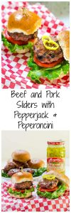 Pork and Beef Sliders with Pepper Jack and Peperoncini are super flavorful burgers that are perfect for a yummy appetizer or a quick weeknight dinner. | HostessAtHeart.com