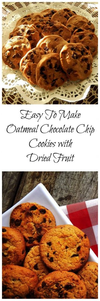 Oatmeal Chocolate chip Cookies with Dried Fruit is a quick recipe that adds a lot of healthy ingredients to your regular chocolate chip cookie. They're really easy to make and the addition of dried fruits and nuts to give them that extra zing. | HostessAtHeart.com