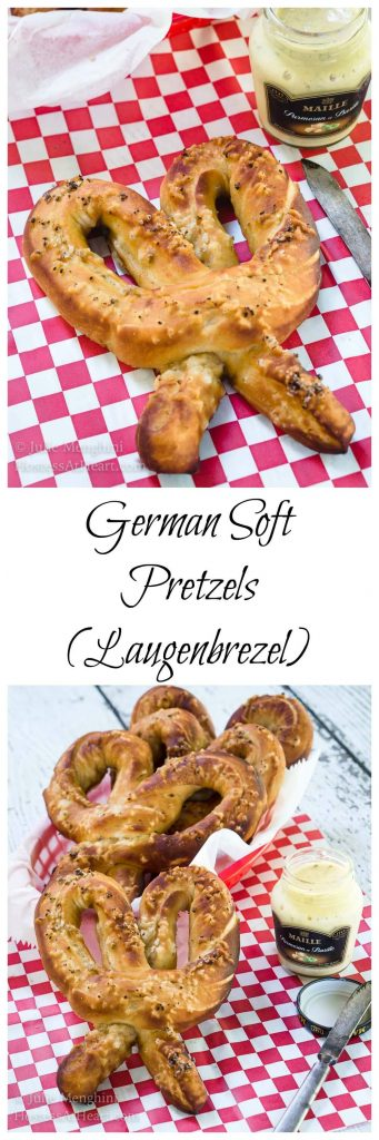 "Two photo collage for Pinterest of Soft pretzels and a jar of mustard sit on a red checked paper napkin. A basket of pretzels sits in the background. A spreading knife sits next to the jar. The other photo is of one pretzel. The recipe title ""German Soft Pretzels (Laugenbrezel) runs between the two photos."