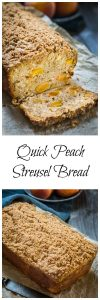 two picture collage showing a cut loaf of peach bread and a whole loaf topped in crunchy cinnamon-brown sugar streusel