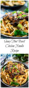 Saucy Thai Basil Chicken Noodle Bowl Recipe is a creamy blend of Asian flavors.  It's a little bit sweet and spicy and a whole bunch delicious! | HostessAtHeart.com