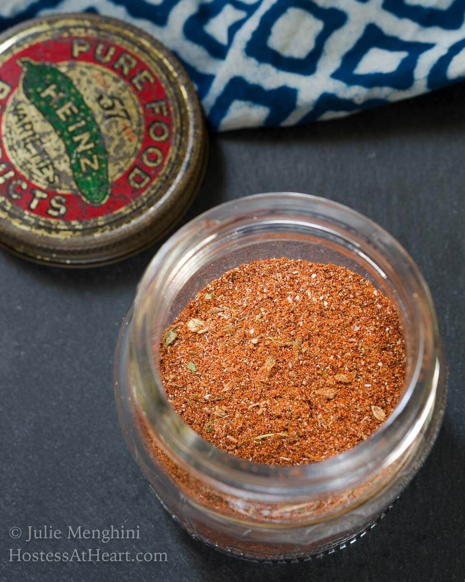This Homemade Blackened Seasoning Blend recipe bumps up the flavor of any meat or veggie dish.  It's got a great flavor followed by a bit of a kick. | HostessAtHeart.com
