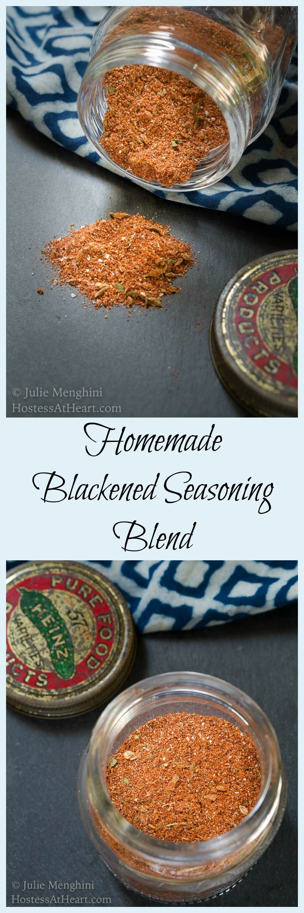 This Homemade Blackened Seasoning Blend is full of fiery spices and herbs.  It is great on meat, fish, veggies, and soups and works great as a marinade or dry rub too! It's got a great flavor followed by a bit of a kick |  HostessAtHeart.com  #blackenedseasoning #easyrecipe #quickrecipe #cajunrecipe #cajunseasoning