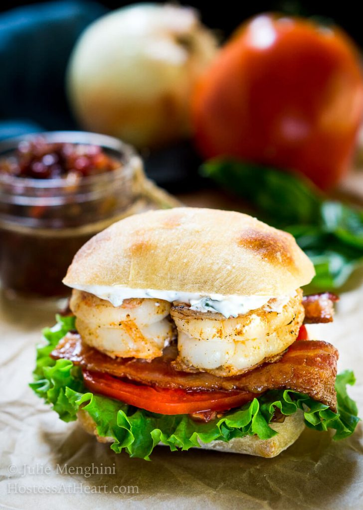 The Most Amazing Shrimp BLT Sandwich is the very best sandwich that we have ever had.  It is an explosion of flavors, textures, and deliciousness!