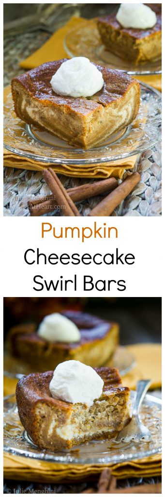 Smooth & Creamy Pumpkin Cheesecake Swirl Bars are the definition of fall and will be a delicious show-stopper at your next get-together or Holiday dinner!   HostessAtHeart.com