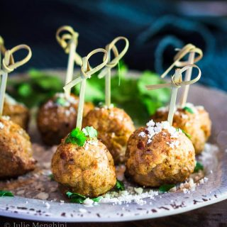 Baked Turkey Meatballs with Green Chiles are perfect as an appetizer, topping a southwest salad or even stuffed in a hoagie. They're perfect for any time of year but especially tailgating! | HostessAtHeart.com